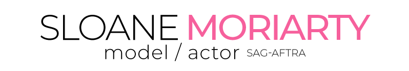 sloane moriarty model actor sag aftra logo main white v